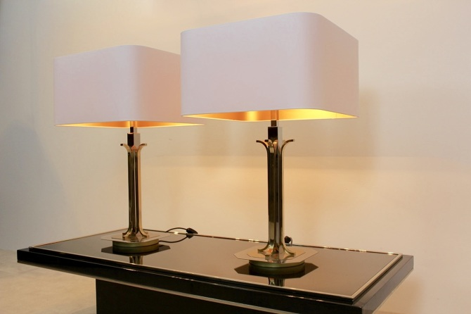 Pair of belgian brass chrome mid century modern table lamps pair of belgian brass chrome mid century modern table lamps mooiestukken aloadofball Image collections